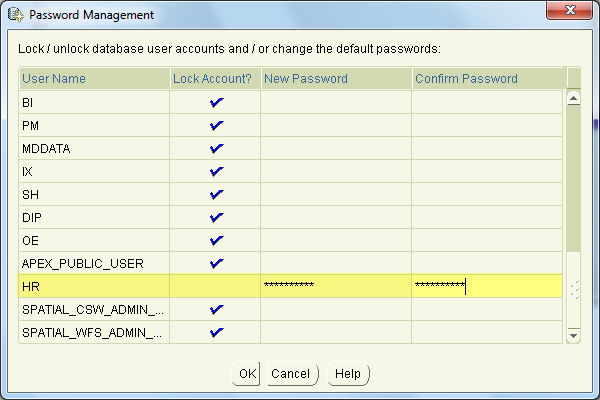 install oracle step 7 - DB config assistant - HR user